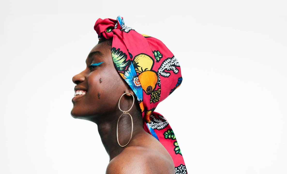 Woman wearing colorful headscarf